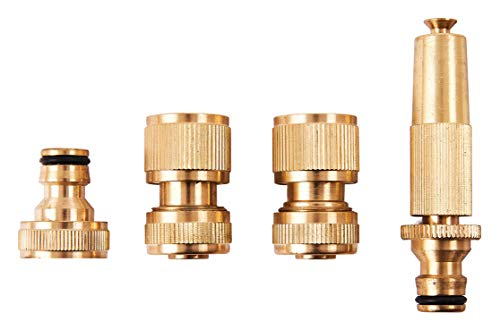 Amtech U2520 Brass Hose Fittings, 4Pc Includes Spray Nozzle, Threaded Tap Connector, Female Hose Fittings with and without shutoff