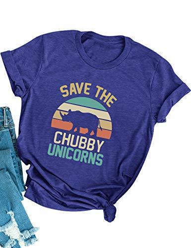 Dresswel Women Save The Chubby Unicorns T Shirt Crew Neck Short Sleeve Tee Tops Retro Graphic Shirt