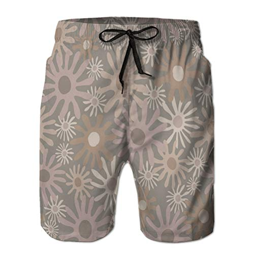 jiilwkie Bañador para Hombre Trajes de baño Shorts de Playa Dibujado a Mano ingenuo zhizhi Bloom seaml L