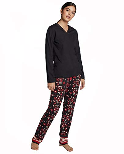 GISELA Pijama pantalón Estampado de Mujer (L, Negro)