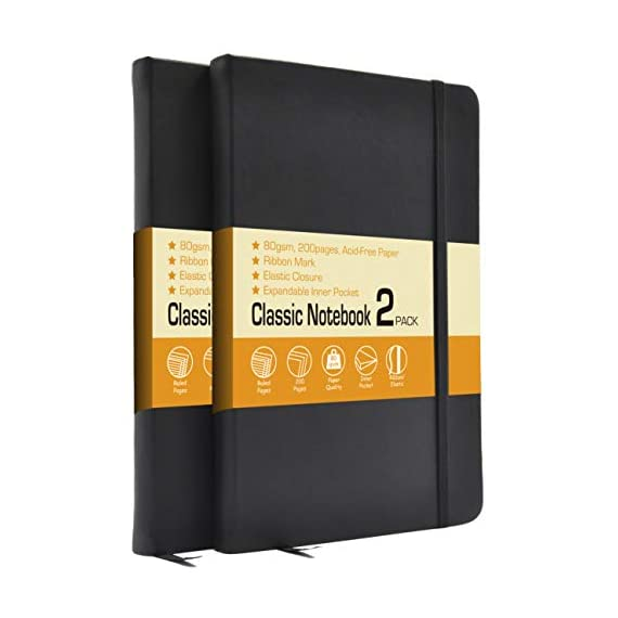 Classic-Notebook-Journals-2-Pack-525×825-Ruled-Hardcover-NotebooksFaux-Leather-and-Elastic-Closure-with-PocketTotal-400-Pages-Premium-Acid-Free-Thick-Paper-Update-Version