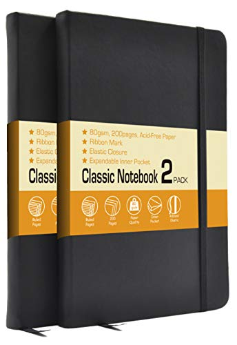 LYTek Classic Notebook Journals 2 Pack 515quotx825quot Ruled Hardcover NotebooksFaux Leather and Elastic Closure with PocketPremium Acid Free Paper200 Pages Per Pack Black