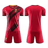 Abiti da Uomo da Calcio da Uomo, 2021 Nuova Stagione Belgio Belgio Home T-Shirt da Calcio e Pantaloncini, Camicia da Calcio per Bambini Adulti 22