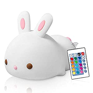 New Exotic LED Nursery Night Lights for Kids Cute Animal Silicone Baby Night Light with Touch Sensor Color Rabbit for Baby Toddler Girls Best Gifts for Adult Boys Girls Kids (Rabbit with Remote)