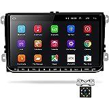 Podofo Android Autoradio GPS pour VW Seat Passat Golf Skoda 9' Écran Tactile Bluetooth Lecteur Multimédia de Voiture de Navigation Stéréo WiFi FM Double USB + Caméra de recul