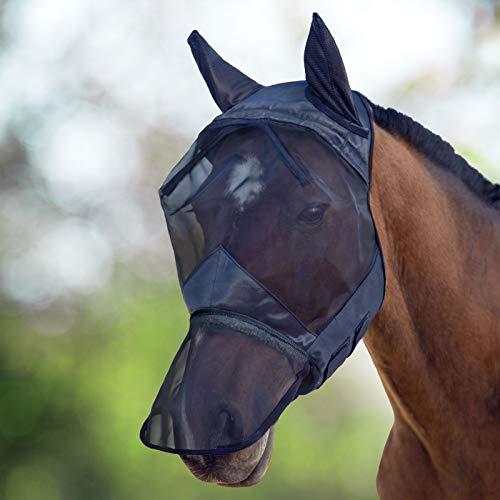 Harrison Howard CareMaster Fliegenmaske UV-Schutz Ohren und Nasenschutz Schwarz Vollblut (M)