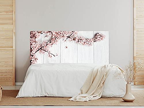 Oedim Cabecero Madera Blanca con Flores, cabecero Decorativo para Camas, decoración para Habitaciones