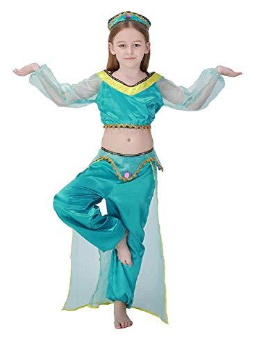 Costume Jasmine bambina - Odalisca - Araba - Principessa - Travestimento - Carnevale - Hallowen - Cosplay - Bimba - Idea regalo - Colore Azzurro - Taglia 140-8-9 anni