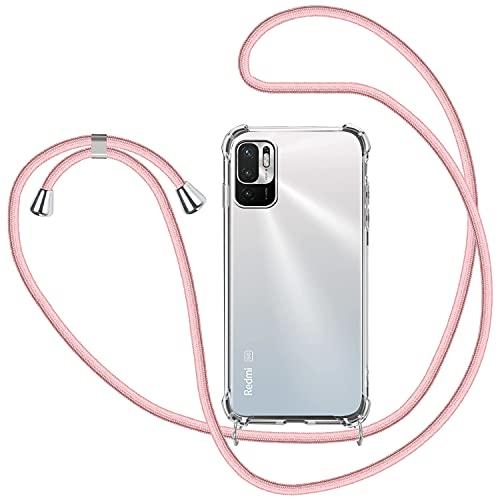SAMCASE Funda con Cuerda para Xiaomi Redmi Note 10 5G/Poco M3 Pro 5G, Carcasa Transparente TPU Suave Silicona Case con Correa Colgante Ajustable Collar Correa de Cuello Cadena Cordón - Oro Ros