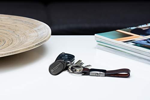 musegear Schlüsselfinder Mini mit Bluetooth App I Keyfinder laut für Handy in schwarz 2er Pack I GPS Ortung/Kopplung I Schlüssel Finden