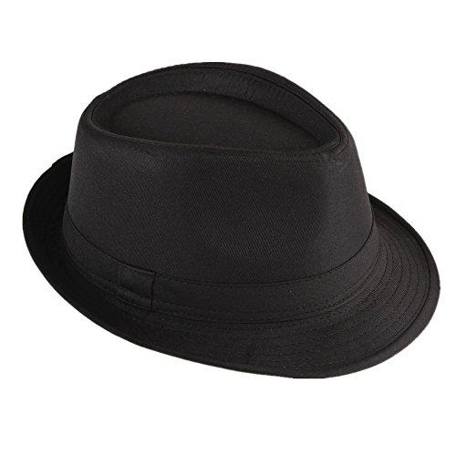 Cappello di paglia Fedora/Trilby, con nastro, contro il sole, per stile gangster Nero  58