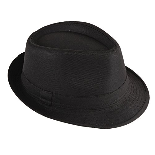 Strohhut Panama Fedora Trilby Gangster Hut Sonnenhut mit Stoffband Farbe:-Schwarz Gr:-58