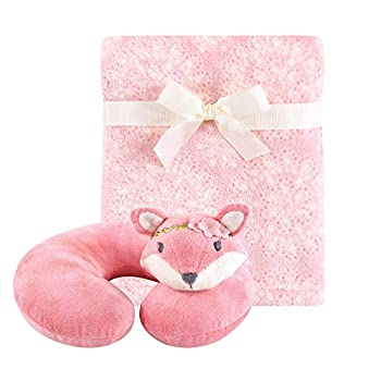 Hudson Baby Unisex Baby Neck Pillow and Plush Blanket Set Miss Fox One Size