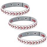 HZMAN Leather Softball Baseball Bracelets by Athletes Bangle Cuff Wristband, 3 Pcs White Black Yellow Ste (White)