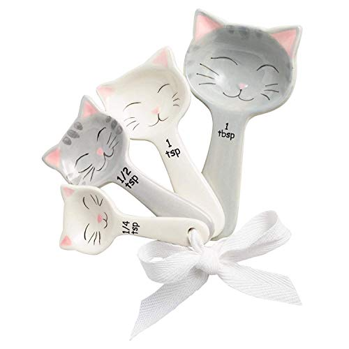Toysdone Cat Shaped Ceramic Measuring Spoons - Perfect for Any Cat Lover - Cat Ceramic Measuring Spoons Baking Tool - Creative Functional Kitchen Decor - Comes in White and Gray - Set of 4