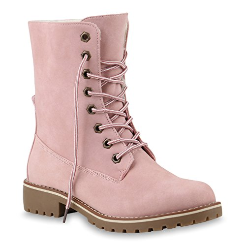 Stiefelparadies Damen Schuhe 145330 Stiefeletten Rosa Glatt 42 Flandell