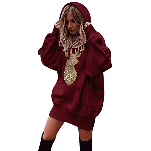 Momoxi Damen Weihnachten Pullover Plus Size Ugly Sweatshirt Langer Pulli mit Kapuze Weiches Sweatshirt fc College Frankreich Dortmund Liverpool Trainingsjacke Basketball köln Werder schwarz L