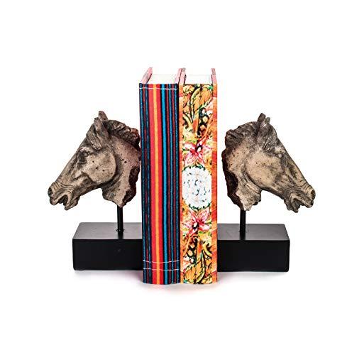 EUROCINSA Ref.28444 Set SUJETA-Libros Caballos, poliresina, Marfil, 27x21cm