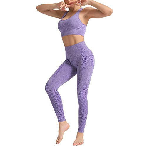 Mxssi Zweiteiler Nahtlose Fitness Frauen Sportanzug Hohe Elastische Push Up Weste Sport-BH Gym Lauftraining Hohe Taille Leggings