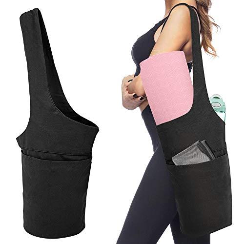 MoKo Yogamatte Tasche, Tragetasche für Yogamatte Leicht Sporttasche mit Groß Fach & Reißverschluss Fach, Wiederverwendbar Aufbewahrungstasche für Meiste Matten Yoga Zubehör für Damen Herren - Schwarz