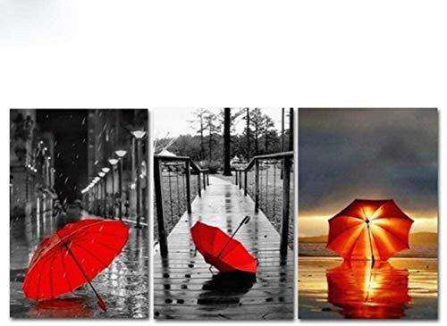 XingChen Impresiones para Paredes 3 Piezas 20x30cm sin Marco Paraguas Rojo Paisaje Decoración del hogar Cuadro de Arte de Pared Lienzo Árbol Grande Impresión en HD Póster Pintura para Dormitorio