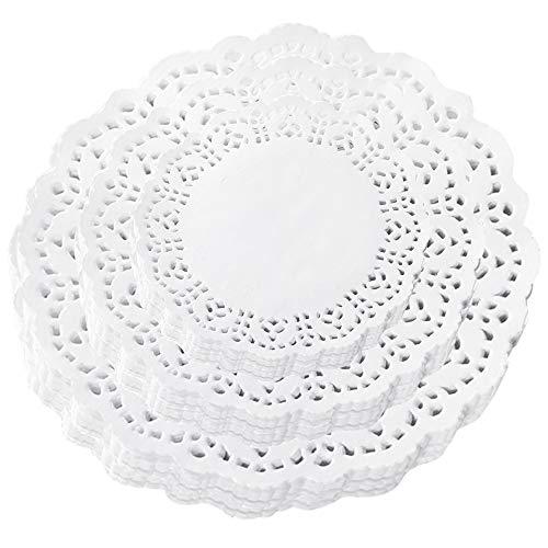 Chingde Papel de tapetes, 3 piezas tapetes de papel de encaje redondo, tapetes de papel desechables, papel de empaque para pasteles para bodas, fiesta de cumpleaños, blanco