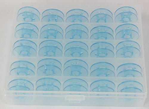 25x Spulen für Nähmaschinen mit Doppelumlaufgreifer in praktischer Box, Spulenbox. Passend für Nähmaschinen mit Doppelumlaufgreifer von PFAFF (Tipmatic / Tiptronic / Select - Serien) und GRITZNER (Tipmatic - Serie)