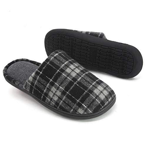 RockDove Men's Plaid Scuff with Memory Foam, Size 11-12 US Men, Dark Gray
