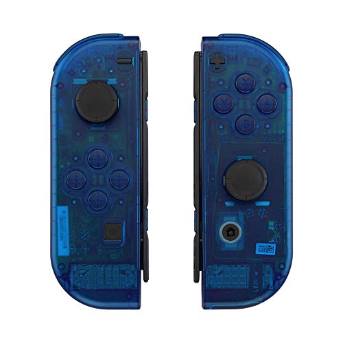 eXtremeRate Transparent Clear Purple Back Plate for Nintendo Switch Console, NS Joycon Handheld Controller Housing with Full Set Buttons, DIY Replacement Shell for Nintendo Switch