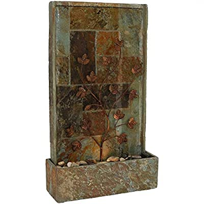 Slate Fountain Sunnydaze Climbing Vines Outdoor Water Feature