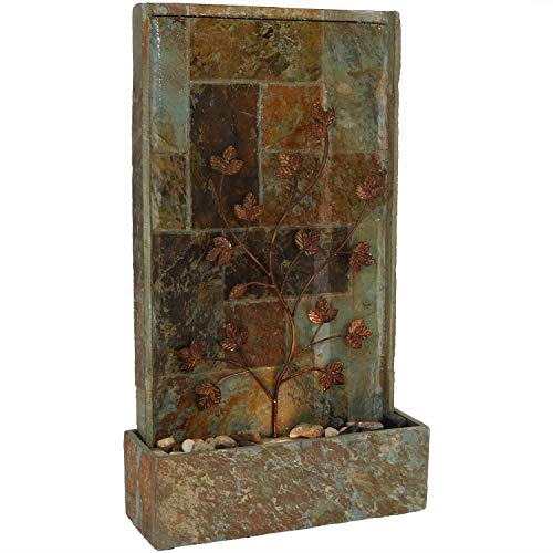 Sunnydaze Climbing Vines Slate Outdoor Waterfall Fountain with LED Light - Floor Wall Fountain & Backyard Water Feature - 32 Inch Tall