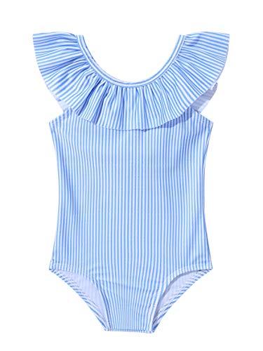 Doomiva Chic Maillot De Bain 1 Pièce Bébé Fille Tankini Floral Body De Bain à Volants Combinaison De Natation Dos Nu Vêtements De Plage Piscine Anti-UV Swimwear 0-24 Mois Bleu 18-24 Mois