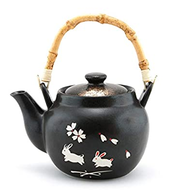 Traditional Japanese Style Ceramic Teapot with Rattan Handle 42 fl oz Teapot with Stainless Steel Infuser Strainer for Loose Leaf Tea (Moon Rabbit)