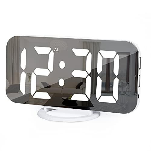Digitaler Wecker, Wecker Am Bett,7 'LED-Spiegel-Wecker, mit 2 USB-Ladeanschlüssen, Schlummermodus, Automatische Helligkeitsanpassung, Einfach Einzurichtende Schreibtischuhr Für Die Home-Office-Küche