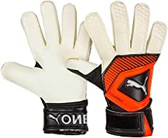 PUMA One Grip 3RC–Guantes de Portero, otoño/Invierno, Unisex Adulto, Color White/Shocking Orange/Black/Silver, tamaño 9
