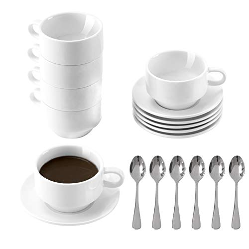Porcelain Espresso Cups with Saucers and Spoons, DeeCoo 3.5 oz Coffee Cup and Saucer Set, Set of 6 Stackable Espresso Mugs, Small Demitasse Cup with Handle, Tiny Coffee Mugs Set