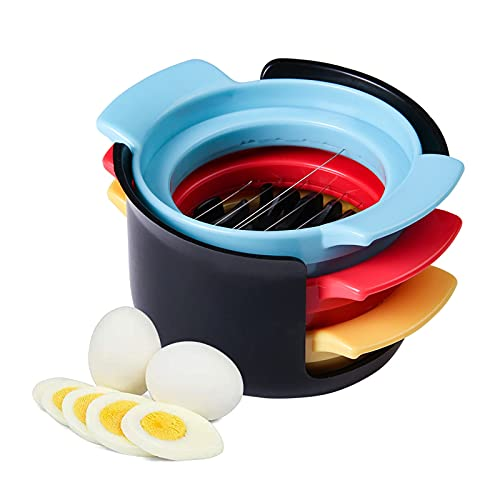 Mecmbj Eierschneider 3-In-1 Edelstahldraht Eierschneider Manueller Gekochter Eierschneider Küchenutensilien für Gekochten Eiern, Erdbeeren, Pilzen, Salaten