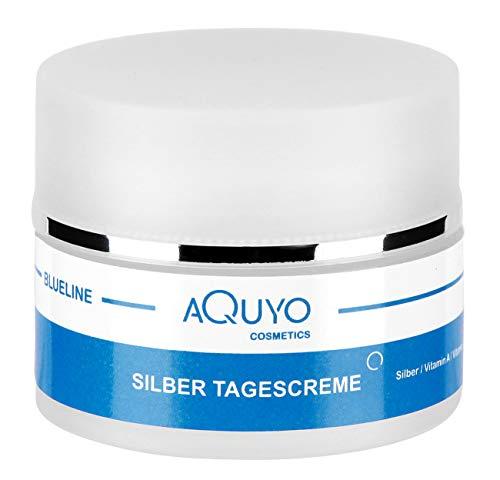 Blueline Microsilver Tagescreme, Gesichtscreme für trockene, empfindliche & unreine Haut, Gesichtspflege für Frauen und Männer mit Silber, Panthenol, Sheabutter, Mandelöl, Vitamin A & E (50ml)