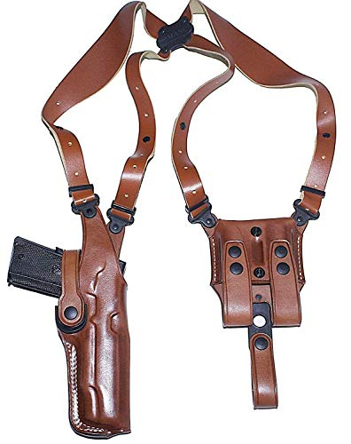 Premium Leather Vertical Shoulder Holster System with Double Magazine Carrier for H&K Mark 23 Socom 45 Auto 5.87