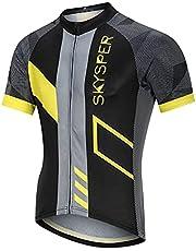 SKYSPER Fietsshirt voor heren, korte mouwen, fietskleding, fietsshirt T-shirt voor mannen, ademende cycling jersey, sneldrogend, wielersport kleding