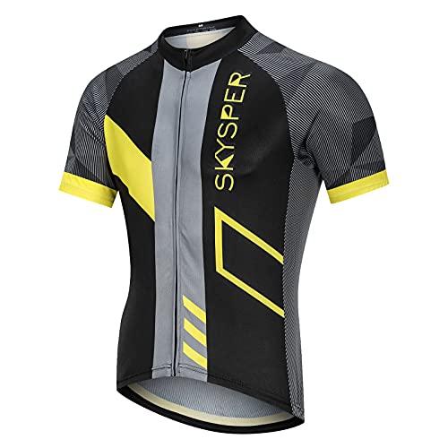 SKYSPER Herren Radtrikot Fahrradtrikot Kurzarm, Fahrradbekleidung Fahrrad Trikot T-Shirt für Männer, Atmungsaktive Cycling Jersey Schnell Trocknen Radsport Bekleidung