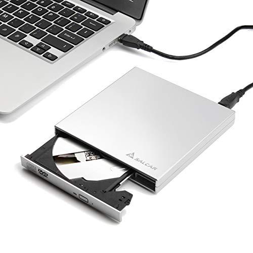 Salcar Grabadora DVD-R CD-RW Externa Portátil USB CD/DVD Lector Externo Unidad CD Externa Quemador Drive para Windows 2000 / XP/Vista, Windows 7/8 / 10, Mac OS y Otros Sistemas- Plata