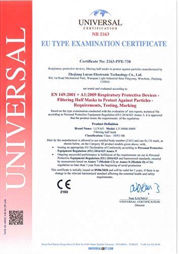 Luyao Atemschutzmasken FFP2, CE-zertifiziert, ohne Schutzventil, atmungsaktiv, 20 Stück - 4