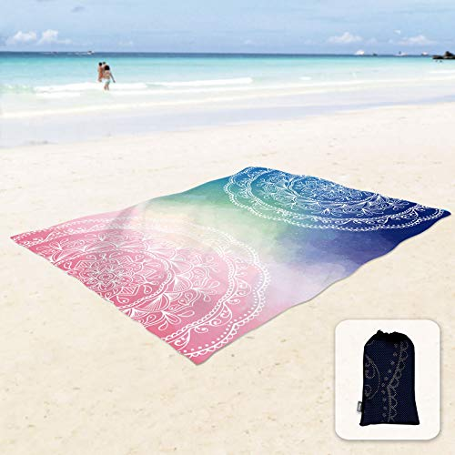 """Sunlit Silky Soft 106""""x81"""" Boho Sand Proof Beach Blanket Sand Proof Mat with Corner Pockets and Mesh Bag for Beach Party, Travel, Camping and Outdoor Music Festival, Blue and Pink Mandala"""