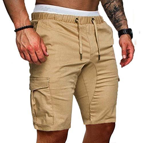 Cindeyar Herren Shorts Sommer Chino Jeans Kurze Hosen Stretch Jogger Cargo Shorts Slim-Fit (L, 175Khaki)