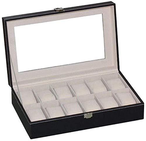 T.T-Q Caja de Reloj de 12 dígitos Cajas para Relojes Pulsera de Techo Solar de Vidrio abatible Caja de Almacenamiento de Reloj Caja de Reloj Caja de joyería 30 * 20 * 8 cm