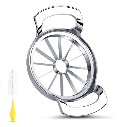 FAMMOM Apple Slicer Upgraded Version 12-Blade Extra Large Apple Corer, Stainless Steel Ultra-Sharp Apple Cutter for Up to 4 Inches Apples,Silver