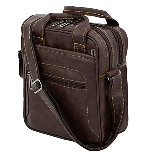 Storite Stylish PU Leather Sling Cross Body Travel Office Business Messenger Bag for Men Women (22x26.5x10 cm, Chocolate Brown)