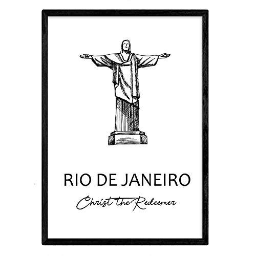 Poster de Rio de Janeiro - Cristo redentor. Láminas con monumentos de ciudades. Tamaño A3