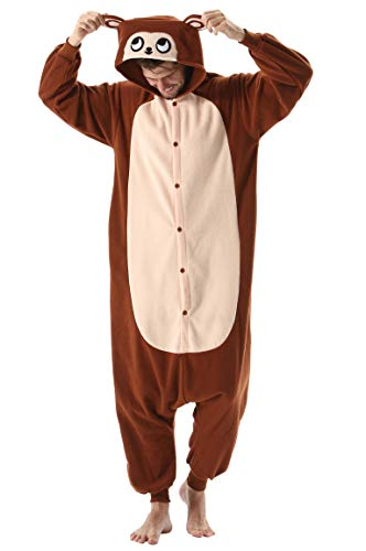 Pijama Animal Entero Unisex para Adultos con Capucha Cosplay Pyjamas Ropa de Dormir Kigurumi Traje de Disfraz para Festival de Carnaval Halloween Navidad Brown Mono